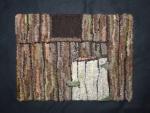 Neighbor's Barn, Susan L. Feller hooked with alpaca yarns and wool fabric