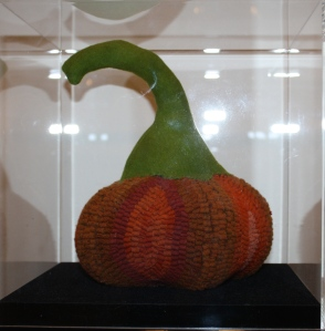 hooked and sewn pumpkin base, wool stem, stuffed by Carolyn Boutilier