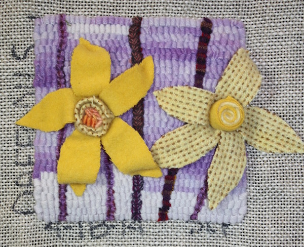 4 18 14 daffodils susan l feller hooked wool fabric quilled